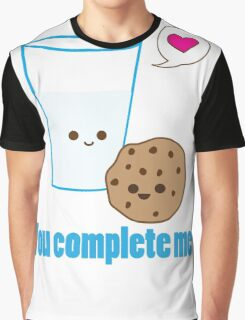 Kawaii Valentines Milk&Cookies Graphic T-Shirt