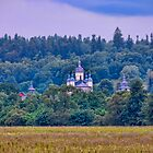 Village landscape with Monastery by visfineart