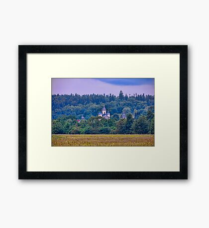 Village landscape with Monastery Framed Print