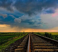Village landscape with train tracks by visfineart
