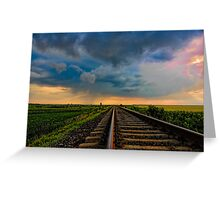 Village landscape with train tracks Greeting Card