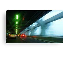 Night traffic motion lights inside of the Verizano Bridge of New York Canvas Print