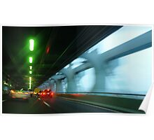 Night traffic motion lights inside of the Verizano Bridge of New York Poster