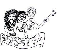 The Golden Trio Harry Potter Doodle Sketch by LittleMizMagic
