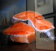 Raw salmon reflection at the window by Anton Oparin