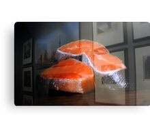 Raw salmon reflection at the window Metal Print