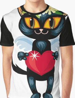Black cat flying like an angel with red heart Graphic T-Shirt