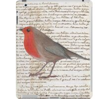 Oil Pastel Red Robin on Vintage Script iPad Case/Skin