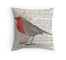 Oil Pastel Red Robin on Vintage Script Throw Pillow