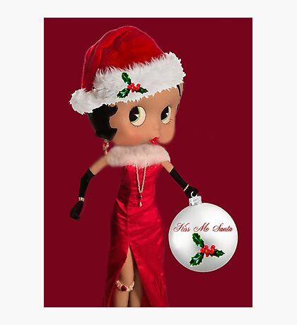 BETTY BOOP KISS ME SANTA -PILLOW-TOTE BAG-JOURNAL-ECT. Photographic Print