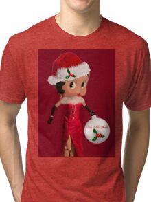 BETTY BOOP KISS ME SANTA -PILLOW-TOTE BAG-JOURNAL-ECT. Tri-blend T-Shirt