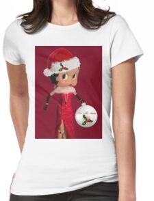 BETTY BOOP KISS ME SANTA -PILLOW-TOTE BAG-JOURNAL-ECT. Womens Fitted T-Shirt