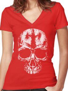 Painted skull Women's Fitted V-Neck T-Shirt