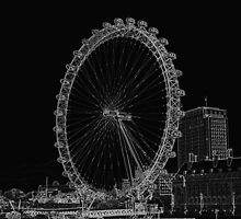 London Eye and River view Black and white by DavidHornchurch