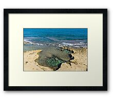 Mediterranean Delight - Maltese Natural Beach Pool with a Sleeping Giant Framed Print