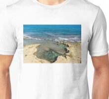 Mediterranean Delight - Maltese Natural Beach Pool with a Sleeping Giant Unisex T-Shirt
