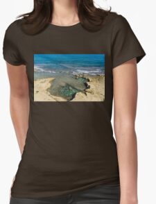 Mediterranean Delight - Maltese Natural Beach Pool with a Sleeping Giant Womens Fitted T-Shirt