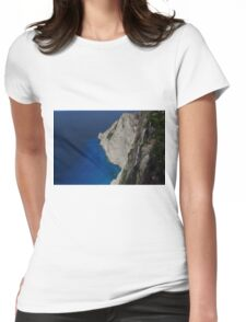 Limestone Cliff, Turquoise & Blue Sea Womens Fitted T-Shirt