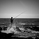 Fishing Off Newcastle Baths by Daniel Rankmore