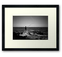Fishing Off Newcastle Baths Framed Print