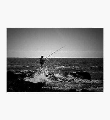 Fishing Off Newcastle Baths Photographic Print