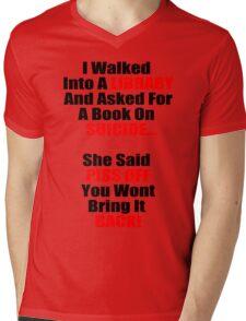 Hilarious Book On Suicide Joke! Mens V-Neck T-Shirt