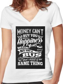 Happiness is a bay bus Women's Fitted V-Neck T-Shirt