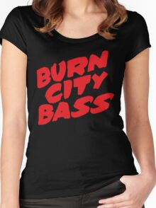 Burn City Bass (Red) Women's Fitted Scoop T-Shirt
