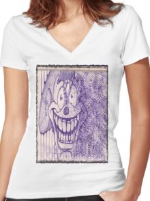 Crazy Bubble Clown: Sticker or T-Shirt Women's Fitted V-Neck T-Shirt