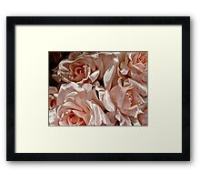 Pink Satin Roses and Pearls Bride Bouquet Framed Print