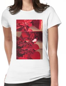 Red Xmas Hearts Womens Fitted T-Shirt