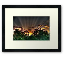 setting suns rays through the trees #2 Framed Print