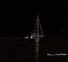 Neon Sailing Across Moonlit Waters by Onemoreday