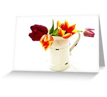 Cutout of tulip flowers in an enamel vase on white background Greeting Card