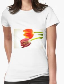 Cutout of tulip flowers on white background Womens Fitted T-Shirt