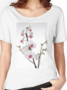 White Phaleanopsis Orchid on white background Women's Relaxed Fit T-Shirt