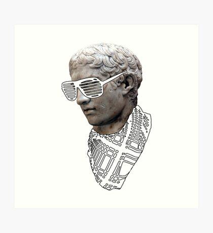 Hipster Greek Statue - Black & White Art Print
