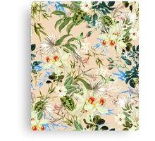 Retro Tropical Flowers Canvas Print