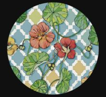 Climbing Nasturtiums on Blue and White One Piece - Long Sleeve