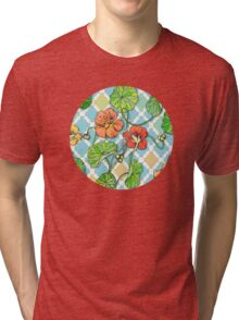 Climbing Nasturtiums on Blue and White Tri-blend T-Shirt