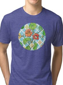 Climbing Nasturtiums on Blue and White Tri-blend T-Shirt