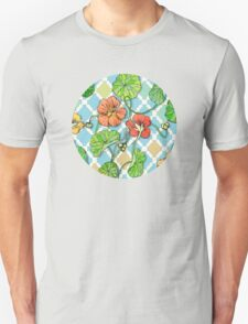 Climbing Nasturtiums on Blue and White Unisex T-Shirt