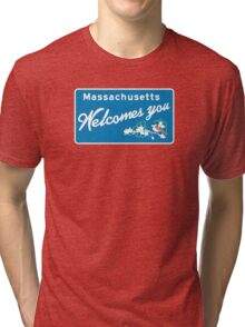 Welcome to Massachusetts, Road Sign, USA  Tri-blend T-Shirt
