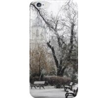 Park Benches During Heavy Snowfall In Winter In Bucharest, Romania iPhone Case/Skin