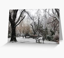 Park Benches During Heavy Snowfall In Winter In Bucharest, Romania Greeting Card