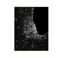 Chicago map lines Art Print