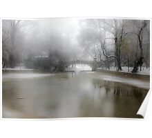 Park During Heavy Snowfall In Winter In Bucharest, Romania Poster