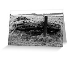 Remains of the barge Harriet with bow wave and sea of grass Greeting Card
