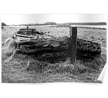 Remains of the barge Harriet with bow wave and sea of grass Poster