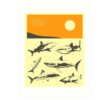 TROPICAL SUNSET (WITH SHARKS) Art Print